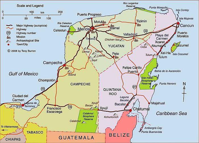 Mexiko - přehled pobytových míst